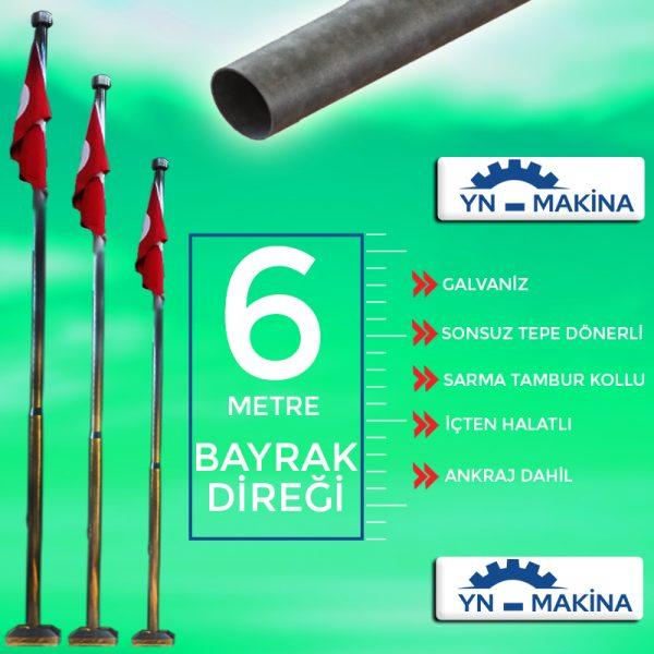 6 Metre Galvaniz Bayrak Direği