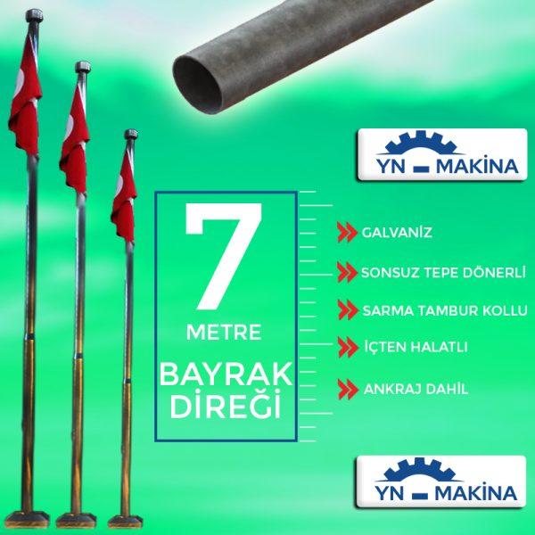 7 Metre Galvaniz Bayrak Direği