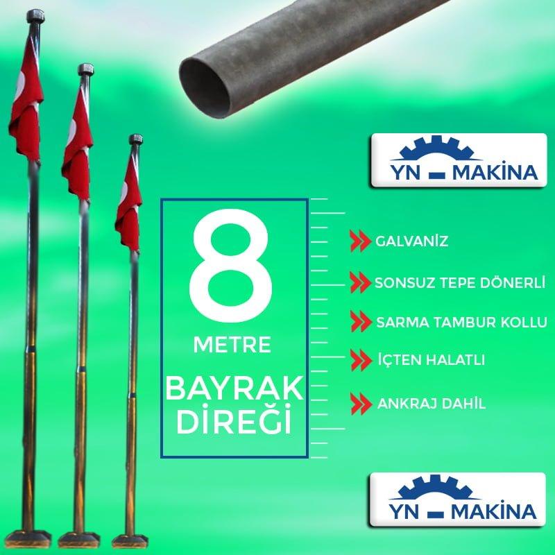 8 Metre Galvaniz Bayrak Direği