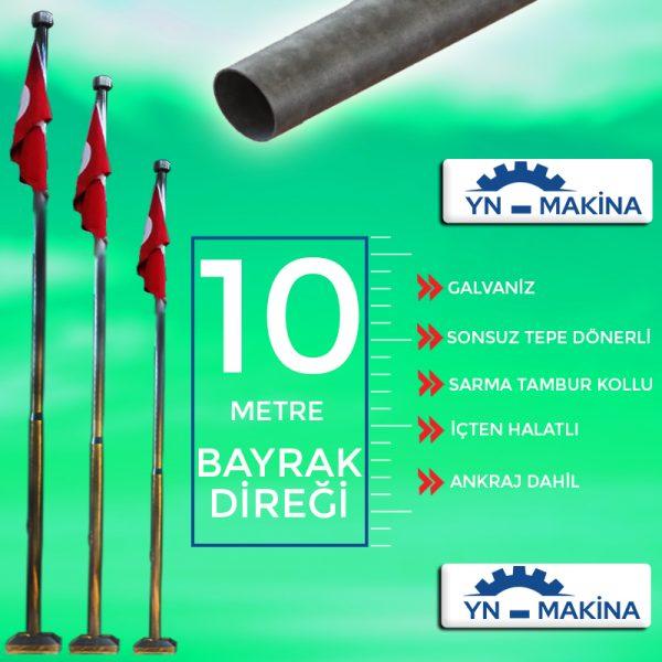 10 Metre Galvaniz Bayrak Direği