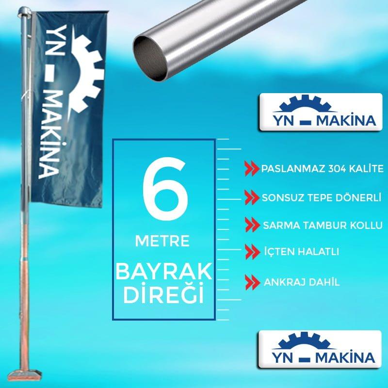 6 Metre Konsollu Bayrak Direği